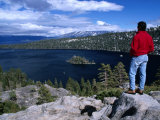 Hiker at Viewpoint Overlooking Emerald Bay  Lake Tahoe  California  USA