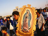 Pilgrim Carrying Icon of Virgin Mary at the Basilica De Guadalupe  Mexico City  Mexico
