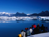 People on Tour Boat Looking Over Columbia Glacier  Prince William Sound  USA