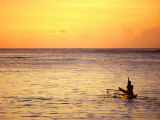 Pao-Pao Boat on the Water at Sunset  Vaisala Beach  Samoa