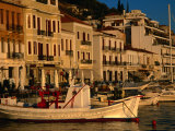 19th Century Buildings and Fishing Vessels in Gythio Harbour  Gythio  Peloponnese  Greece