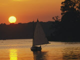 Gaff-Rigged Catboat Sails Along the Shoreline at Sunset