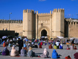 People Gathered in Front of Bab El Mahrouk Gate in Old Fes (Fes El Bali)  Fes  Morocco