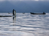 Fisherman on Boat with Net on Lake Inle Inle Lake  Shan State  Myanmar (Burma)