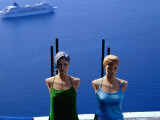 Armless Mannequins in Front of Passing Ship  Fira  Greece