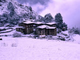 Snow Covering Houses in Village  Laya  Bhutan