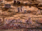 Circumcision Ceremonial Paintings on Cliff at Songo Village  Dogon Country  Mali