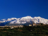 Town with Snow Covered Mountains in Background Tocco Da Casuaria  Abruzzo  Italy