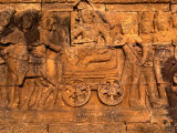Detail of Ancient Carving Borobudur  Java  Central Java  Indonesia