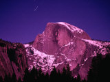 Half Dome with Pink Glow in Moonlight  Yosemite National Park  USA