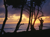 A Silhouetted Surfer and Trees at Sunrise