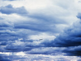 Airplane in Cloudy Blue Sky