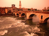 Ponte Di Pietra Over the Adige River  Verona  Italy
