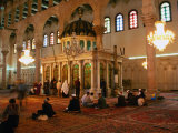 Worshippers Inside Umayyad Mosque and Legendary Tomb of St John the Baptist  Damascus  Syria
