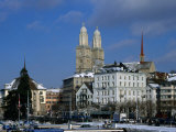 The Grossmunster Church (1100-1230) Amongst City Buildings  Zurich  Switzerland