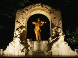Monument to Johann Strauss the Younger at Night  Vienna  Austria