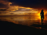 Woman on Beach at Sunset  Cook Islands