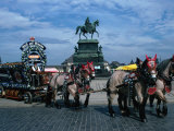 Horse and Carriage Passing Statue of King John of Saxony Dresden  Saxony  Germany