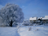 Snow-Covered Houses on Banks of River Nemunas  Lithuania