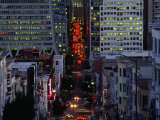 Downtown Traffic and Base of Transamerica Pyramid at Left  San Francisco  California  USA