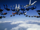Skydivers Getting into Formation