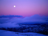 Moonrise and Sunset on Main Range in Winter  Kosciuszko National Park  New South Wales  Australia