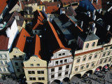 Rooftops of Historic Buildings Lining Old Town Square  Prague  Czech Republic