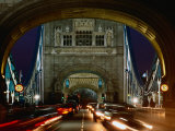 Traffic on Tower Bridge at Night  London  England