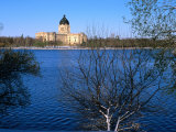 Legislative Building and Wascana Lake After Late Spring Snowfall  Regina  Saskatchewan  Canada