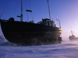 Fishing Boats Beached on Shore of Frobisher Bay for Winter  Iqaluit  Baffin Island  Nunavut  Canada