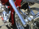 Close-up Image of a Motorcycle Wheel
