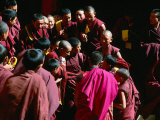 Monks Gathered in Courtyard of Historic Ganden Monastery  Ganden  Tibet