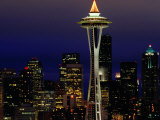 Space Needle at Night  Seattle  Washington  USA