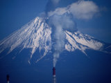 Chimney Smoke and Mt Fuji  Mt Fuji  Japan