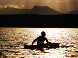 Njemp Fisherman Paddling on Lake at Sunset  Lake Baringo  Kenya