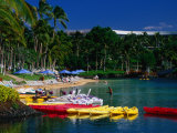 Canoes and Pedal-Boats Lined Up on the Shore of a Lagoon at the Hilton Waikoloa  Hawaii  USA