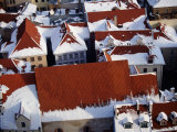 Snow on Rooftops of Old Riga Town Seen from Spire of St John's Church  Riga  Latvia