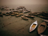 Rowing Boats on Ganges River During Sandstorm  Varanasi  Uttar Pradesh  India