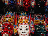 Souvenir Masks for Sale at Yonghe Gong (Lama Temple)  Beijing  China