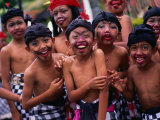 Young Boys from the Ubud Area Have Faces Painted for a School Competition  Ubud  Indonesia