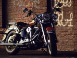 Motorcycle with Brick Wall and Graffiti