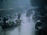 People Ferrying Goods on Canal in Early Morning Mist  Nyaungshwe  Shan State  Myanmar (Burma)