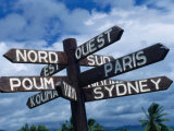 Sign Showing Directions to Other Cities in World  Koumac  New Caledonia