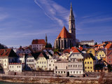 Stadtpfarrkirche (Parish Church) and Town on Enns River  Steyr  Austria