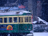 Tram in Snow on Alaskan Way  Seattle  Washington  USA