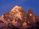 Sunset on Aiguille Verte and the Dru  Chamonix Valley  Rhone-Alpes  France