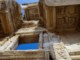 Facade of Library of Celsus Built in 114 AD  Ephesus  Izmir  Turkey
