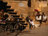 Local Men Sip Tea on Street  Jaisalmer  Rajasthan  India
