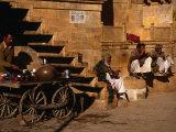 Local Men Sip Tea on Street  Jaisalmer  Rajasthan  India