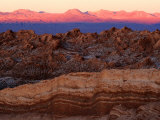 Valley of the Moon and Andes Mountains at Sunset  San Pedro De Atacama  Chile
